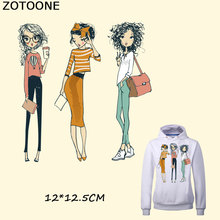 ZOTOONE Iron on Fashion Sister Girl Patches for Clothing Bags Heat Transfer Washable Appliques A-level DIY Accessory F