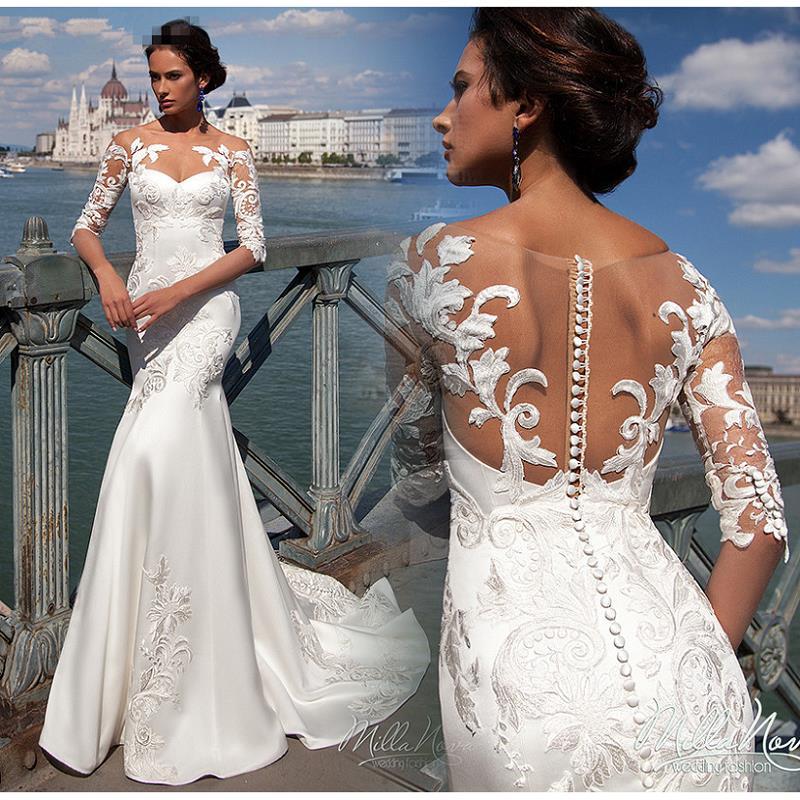 Vestido De Noiva Mermaid Wedding Gowns 2019 Applique Lace Satin Wedding Dresses Sheer Illusion Handmade Bride