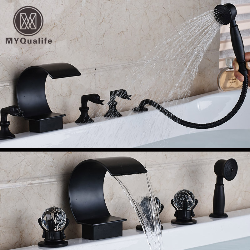Oil Rubbed Bronze Widespread Waterfall Bath Mixer with Hand Shower Deck Mounted 5pcs Bathtub Faucet