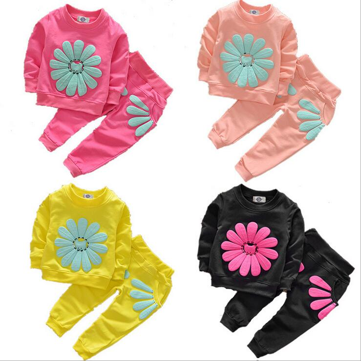New arrival Spring Autumn Fashion sunflower girls clothes set baby girls spring clothing sets toddler kids casual tracksuit sets 2016 spring girls clothes girls clothing sets new arrival female child flower print o neck pullover short skirt set baby twinset