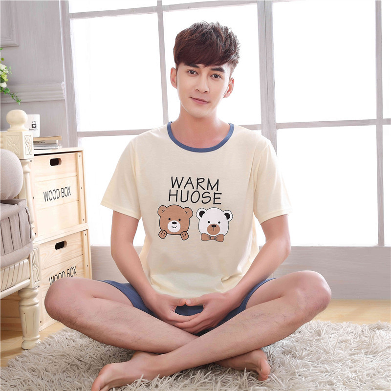 Summer Newest Men/Women fashion Character printing Short sleeved shorts Sleepwear Couple Leisure comfortable Cotton Pajamas stes