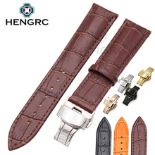 New Durable Watch Band Strap 20mm 22mm Black Brown Orange Genuine Leather Watchbands Deployment Clasp Watches Accessories 20mm 22mm hot sell men lady black leather watch band with gold deployment clasp buckle for sport watches replacement straps new page 4