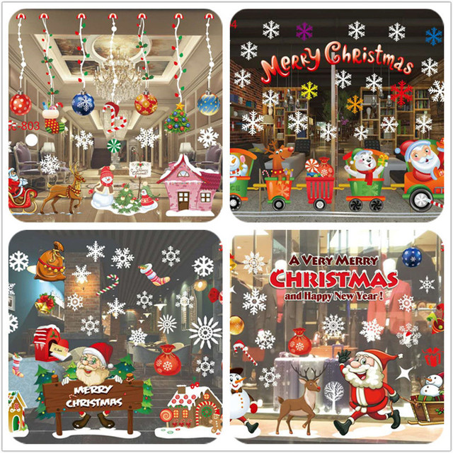 2017 Christmas Decoration Window Glass Stickers Merry Christmas Santa Claus Snow PVC Removable Wall Sticker for Xmas Home Decals