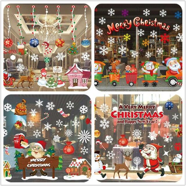 2017 Рождественское украшение оконное стекло наклейка s Веселый Рождественский Санта-Клаус снег ПВХ Съемная Наклейка на стену для рождественских домашних наклеек