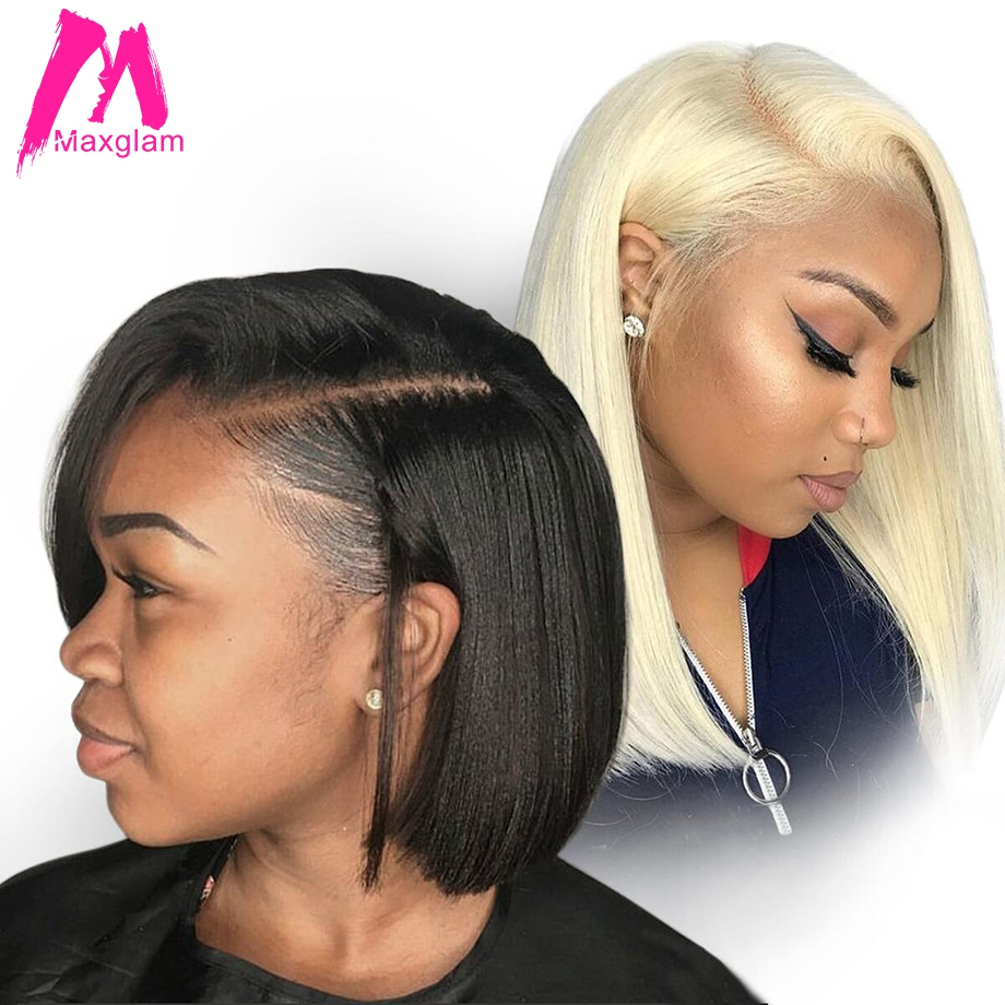 Maxglam Short Lace Front Human Hair Wigs Blonde 613 Human Hair Lace Frontal Wig Brazilian Hair Bob Wig For Black Women(China)