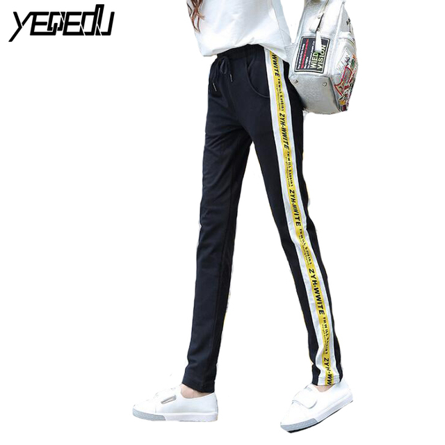 045cb2a4b #2325 Sarouel femme striped pants Black/blue Side stripe Lightweight  Harajuku Loose sweatpants women