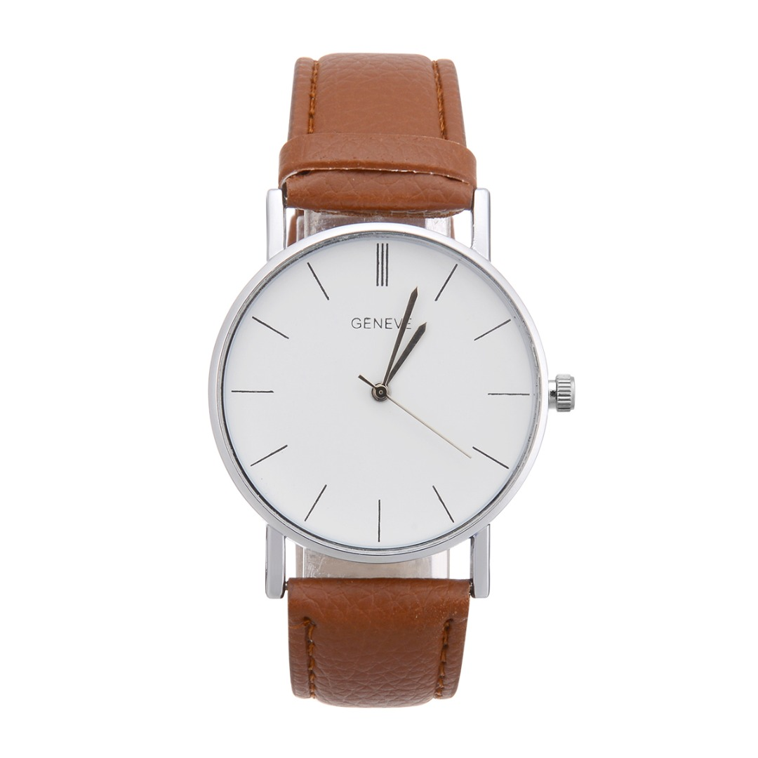 Fashion Women PU Strap Analog Quartz Watch Black Brown White Faux Leather Wrist Watch Casual Ladies Watches