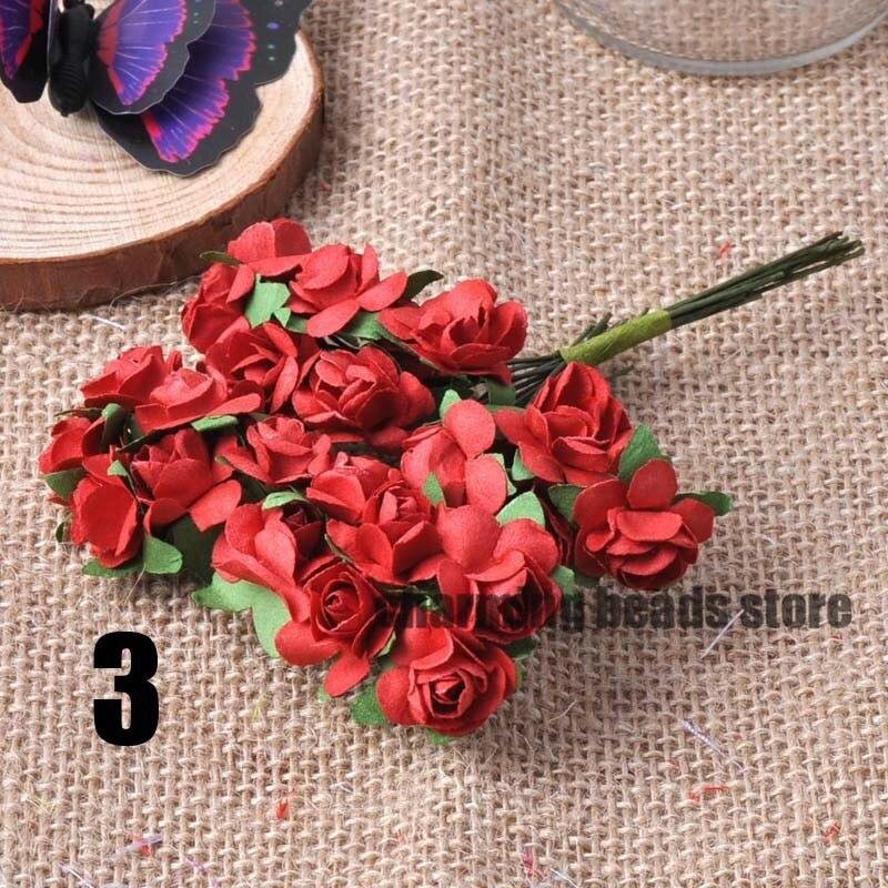 24 шт. 15 мм мини искусственный Бумага розы букет Свадебный декор Скрапбукинг DIY cp0022x
