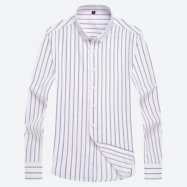 5XL Plus Large Size Striped Shirts Men Long Sleeve Casual Autumn Spring Classic Male Shirts Non-Iron Dress Shirts Man Muls Brand 4