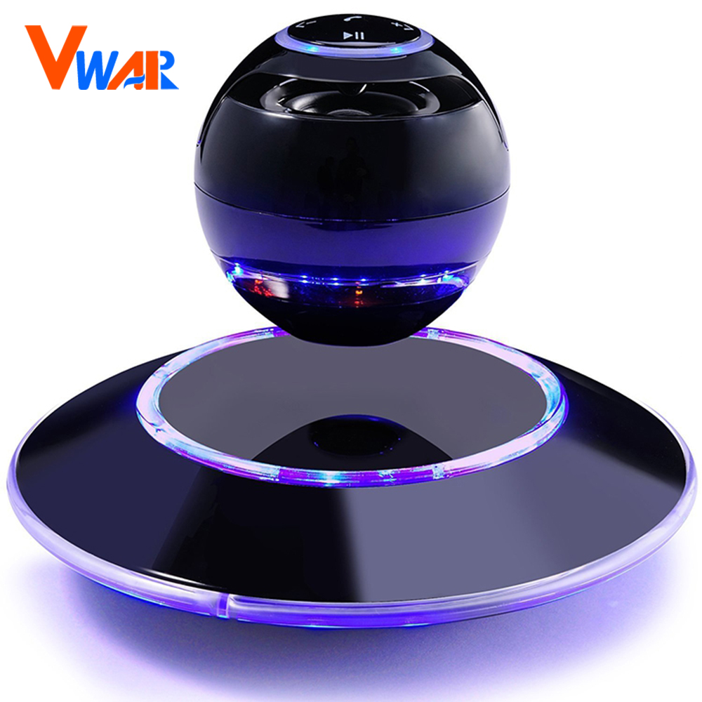 Vwar Portable Wireless Floating Orb bluetooth wireless stereo rotating 360 degree speakers Magnetic levitation Stereo sound ufo maglev bluetooth speakers wireless stereo rotating 360 degree colorful luminous speakers magnetic levitation sound