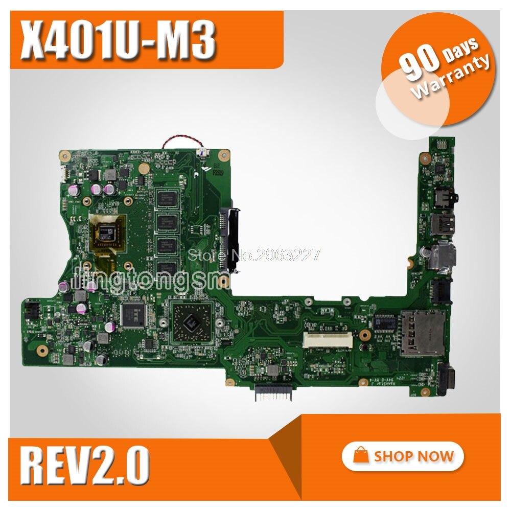 X401U Motherboard X401U M3 REV2 0 2G RAM For ASUS X401U X501U Laptop motherboard X401U Mainboard