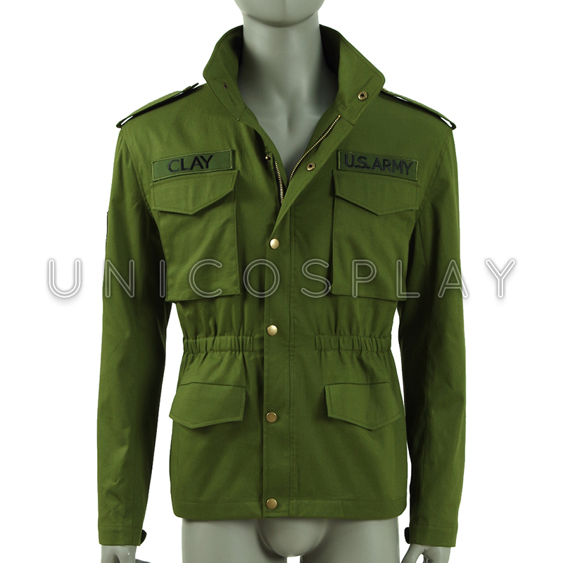 Mafia III Lincoln Clay Jacket Cosplay Costume Man Jacket Army Green Coat New Zipper Outwear Halloween Top with Pocket