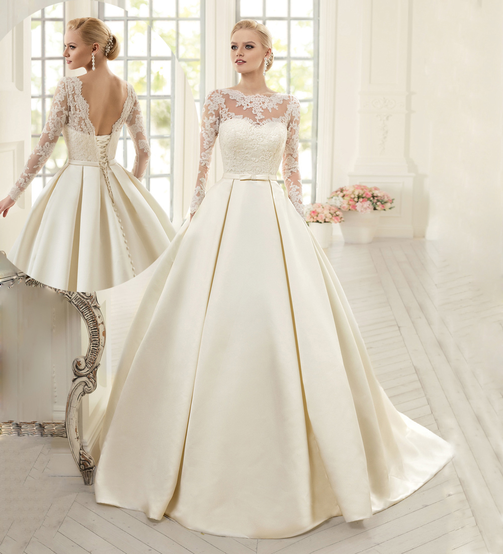 Vintage ivory satin lace wedding dress 2016 lace appliques bow sash vintage ivory satin lace wedding dress 2016 lace appliques bow sash v back a line women long sleeve wedding dresses pw284 in wedding dresses from weddings ombrellifo Choice Image