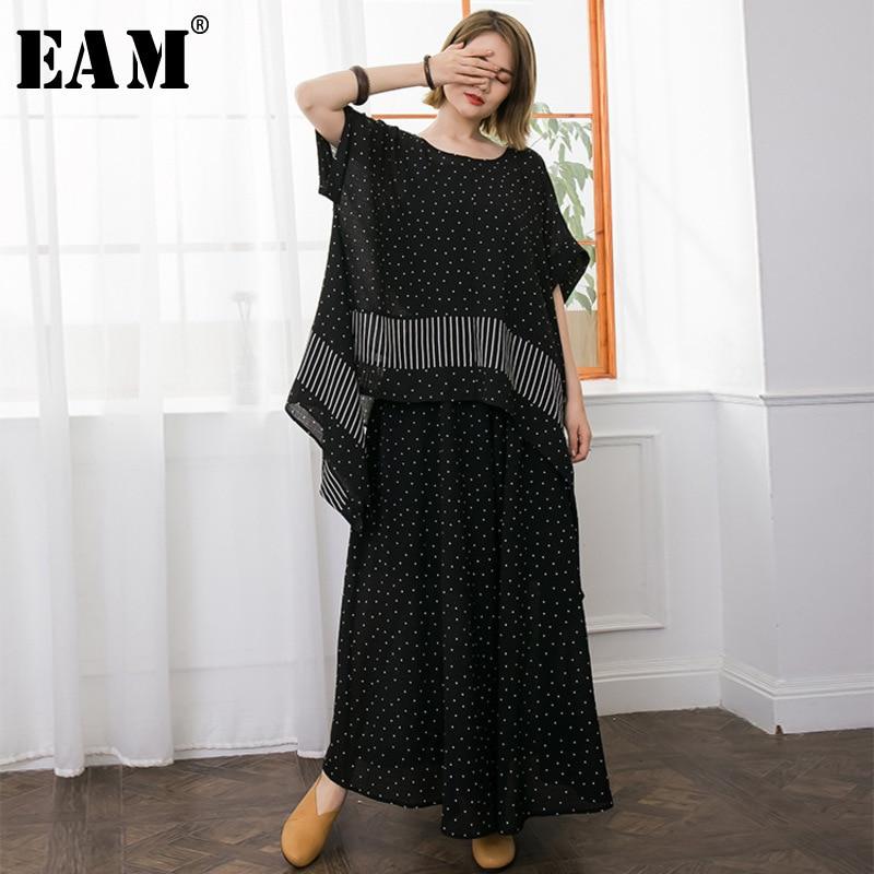 [EAM] 2018 новый летний мода прилив черный o-образным вырезом короткий рукав полосатый волны нерегулярные точки футболка и широкие штаны компле...