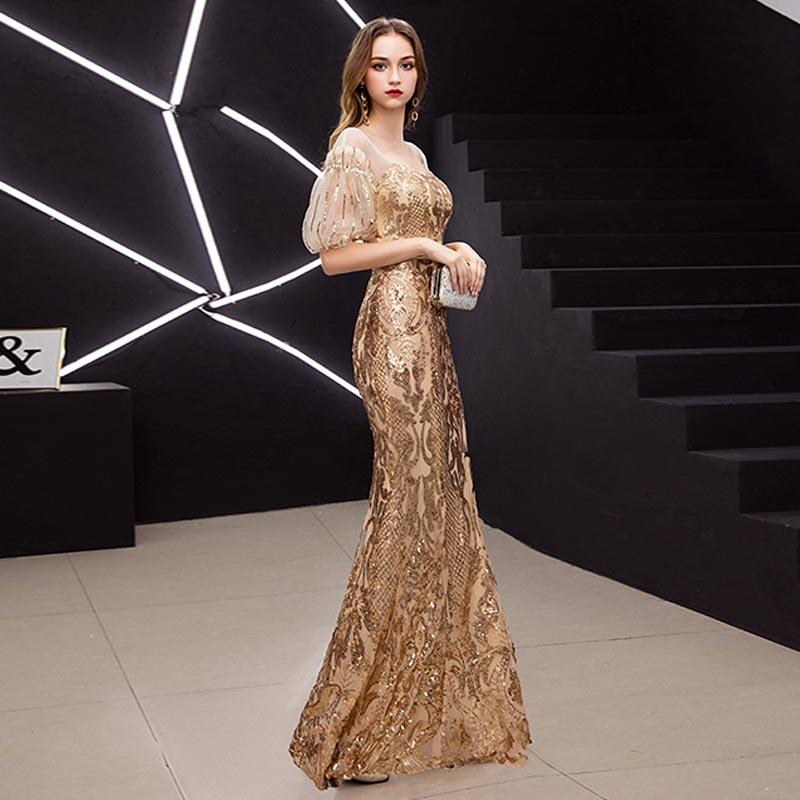 FADISTEE New arrival elegant prom dresses Vestido de Festa gown mermaid Robe De Soiree half puff sleeve sleeves bling sequins 2