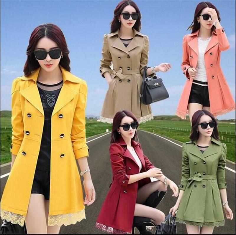 31b65cf6425 Plus Size Spring Autumn Trench Coat For Women Coat Female Windbreaker  Designer Ladies Lace Slim Long Trench Coat Women Coats-in Trench from  Women s Clothing ...