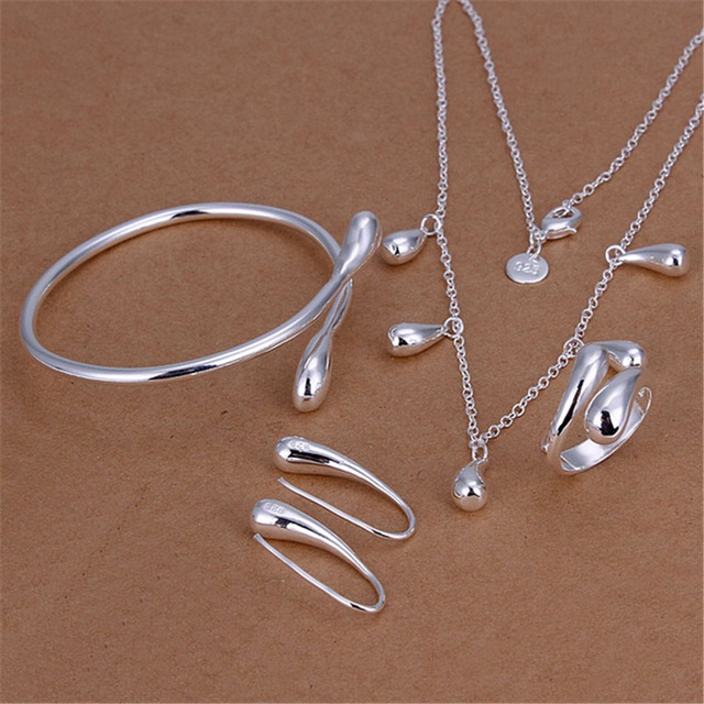 Hot silver plated jewelry set high quality temperament classic water drops penda