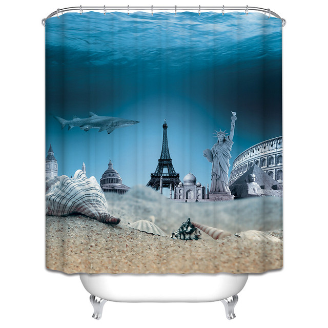 Curtains Ideas christmas curtain fabric : Christmas Shower Curtain beach scenery lighthouse bath curtain ...