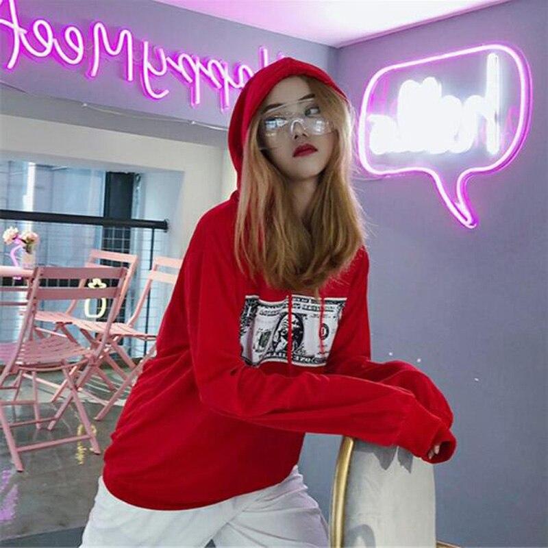 Harajuku Style Women Hoodies High Quality US Dollar Print Long Sleeve Hooded Sweatshirts Woman Loose Tracksuit Women