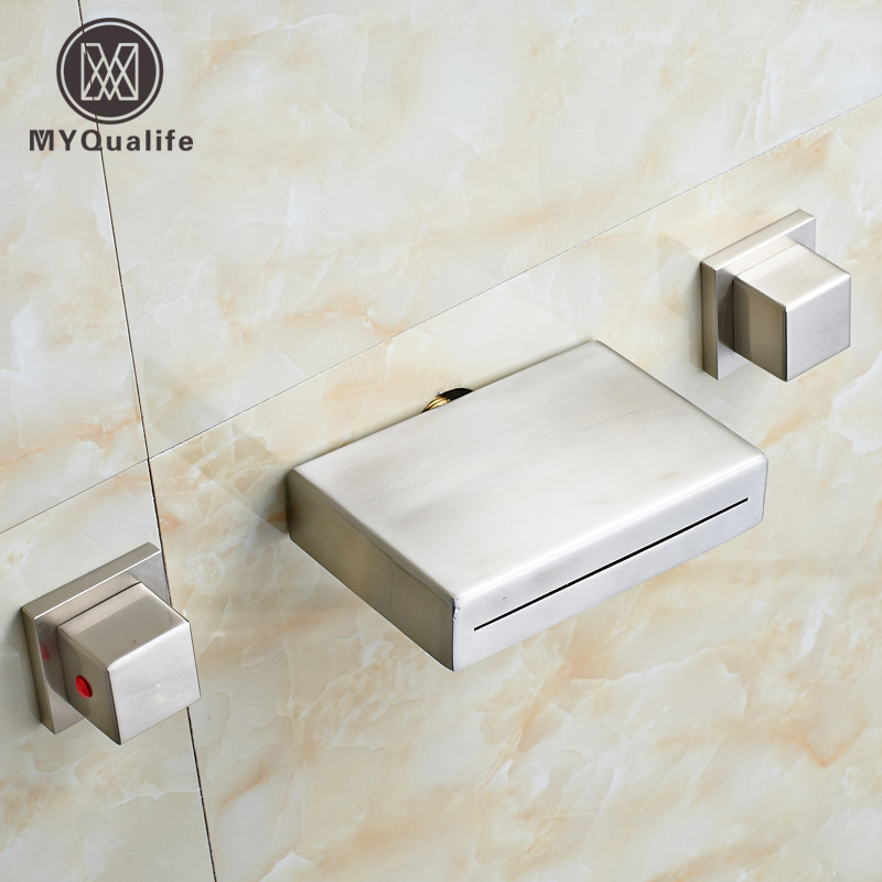 Nickel Brushed Wall Mounted Basin Sink Mixer Taps Two Handle Bathroom Waterfall Tub Sink Crane Faucet wall mounted dual handle waterfall basin faucet brushed nickel hot and cold wash basin mixer taps