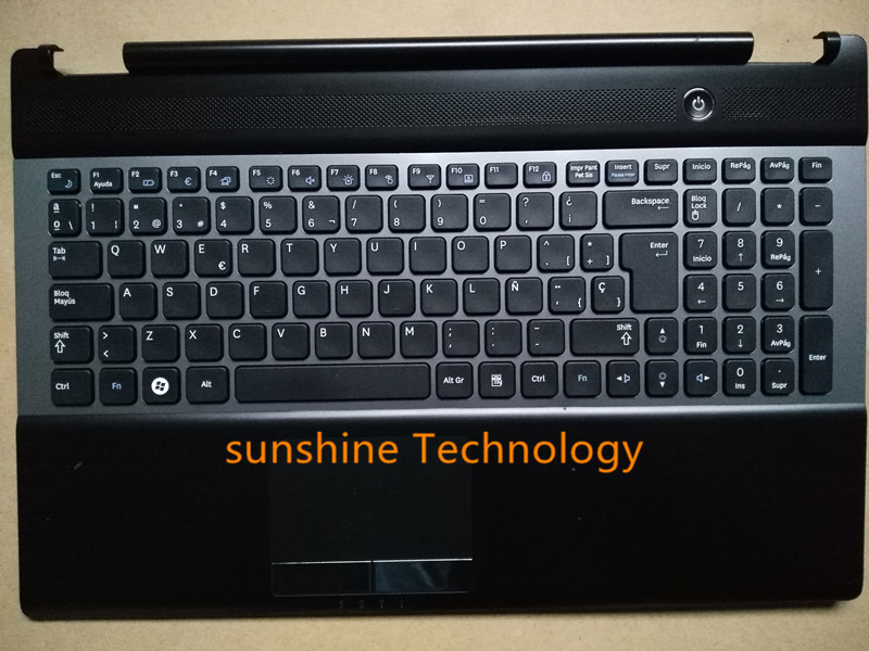 Spain/portuguese layout new laptop keyboard with touchpad plamrest for Samsung BA75-03202D NP RC530 RC528 original new laptop keyboard with c case shell palmrest for samsung ba75 02977e sf410 sf411 arab layout