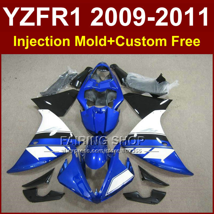 100% Fit blue Motorcycle body parts for <font><b>YAMAHA</b></font> fairings YZFR1 <font><b>2009</b></font> 2010 2011 YZFR1 09 10 11 12 <font><b>R1</b></font> bodyworks YZF1000 <font><b>R1</b></font> +7Gifts image