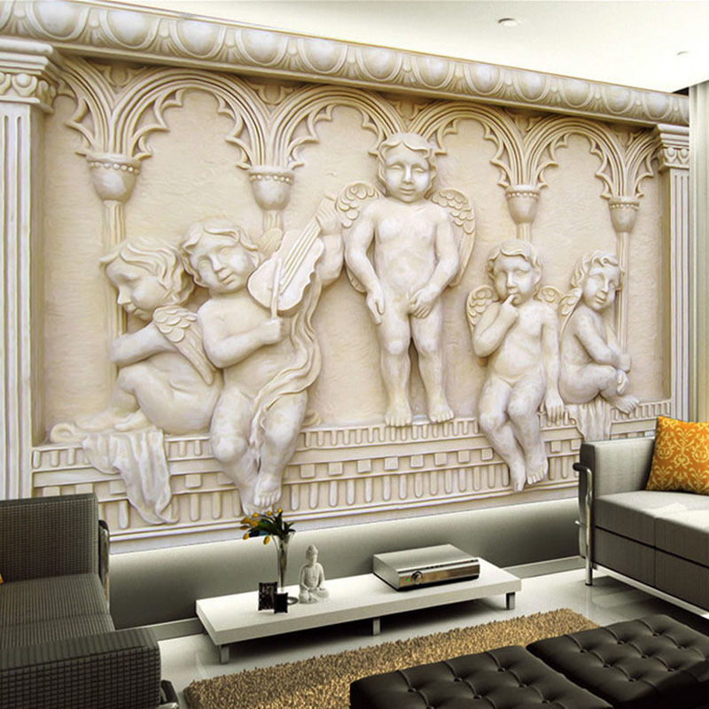 Custom Photo Wallpaper European Style 3D Relief Angel Statue Background Wall Mural Hotel Living Room TV Home Decor Wall Papers custom photo wallpaper european style figure statue 3d embossed mural hotel living room backdrop mural wall papers 3d home decor