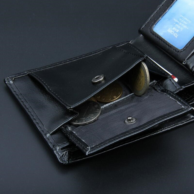 New Simple Short Wallets Black Bifold Wallet Men Brand PU Leather Card Holder Money Cash Wallet Purses Pockets Carteira