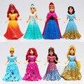 Brinquedos Do Miúdo Top Marca de Moda Desigual Crianças Brinquedos da disney Congelado Princesa Elsa Anna Figuras de Ação Anime Juguetes 8 Pçs/lote Destacável