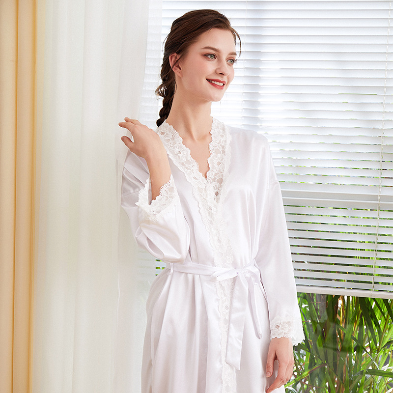 Elegant White Bride Bridesmaid Wedding Robe Home Dress Sexy Lace Sleeve Female Kimono Gown Casual Rayon Bathrobe Nightwear