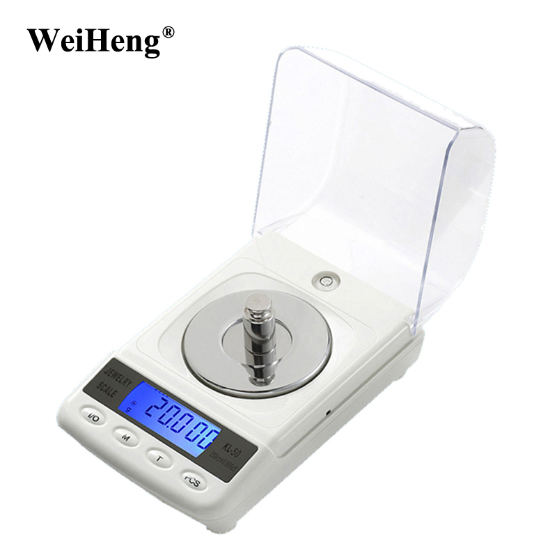 WeiHeng 50g/0.001g Jewelry LCD Digital Scale Lab Weight Milligram Scale Balance Diamond Carat Electonic Scales High Precision