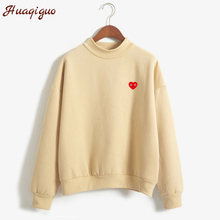 New 2017 Autumn Winter Long Sleeve Little Love Heart Printed Fleece Thick Sweatshirt Harajuku Women Hoodies Moletom Feminino