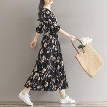 3XL Spring Autumn Female Dress Floral Print V Neck Long Sleeve Women Chiffon Dress Plus Size women Loose Dresses Long Dress