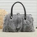 Зимний мех Кролика женщин сумка 2016 новый дизайн моды Плеча Сумку Для Ноутбука алмаз сумка