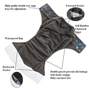 Image 2 - Ohbabyka fralda de pano reutilizável ai2, atacado, fralda de pano bebê, gusset duplo, fraldas de pano lavável com inserção de bambu, 10 peças