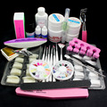 Pro Nail Art UV Gel Kits Brush Remover nail white & Natural tips glue Tools #26