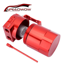 SPEEDWOW 300ml Aluminum Baffled Car Oil Catch Tank Can Reservoir Universal Oil Catch Tank Cans speedwow universal aluminum engine oil catch reservoir breather tank can with vacuum pressure gauge oil catch tank can