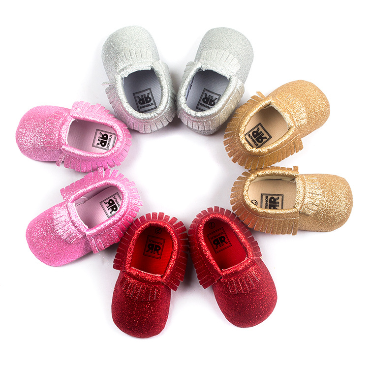 Romirus Bling New metallic Newborn Baby Boys Girls shoes Toddler Infant Shoes Tassel Baby Moccasins Christmas Gift Shoes 0-18M