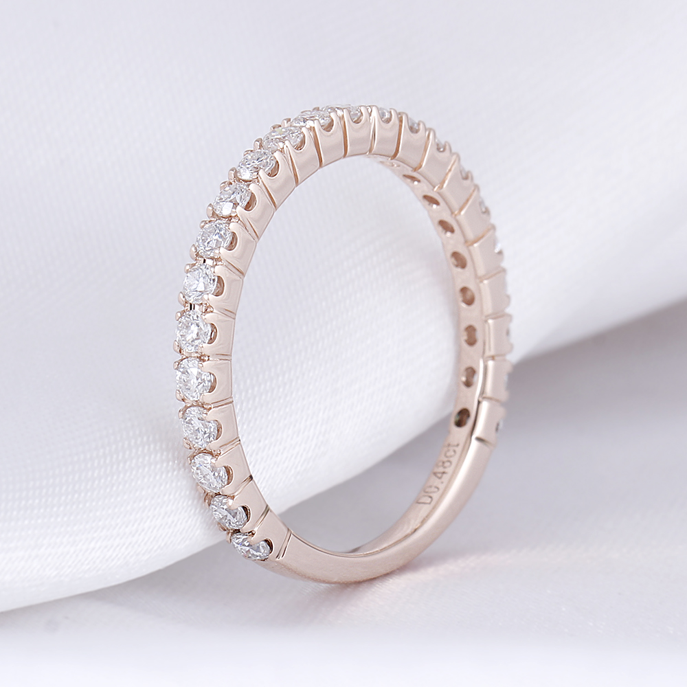 DovEggs Classic 14K Rose Gold 0.48ctw 1.7mm Moissanite Eternity Wedding Band for Women Stackable Wedding Band