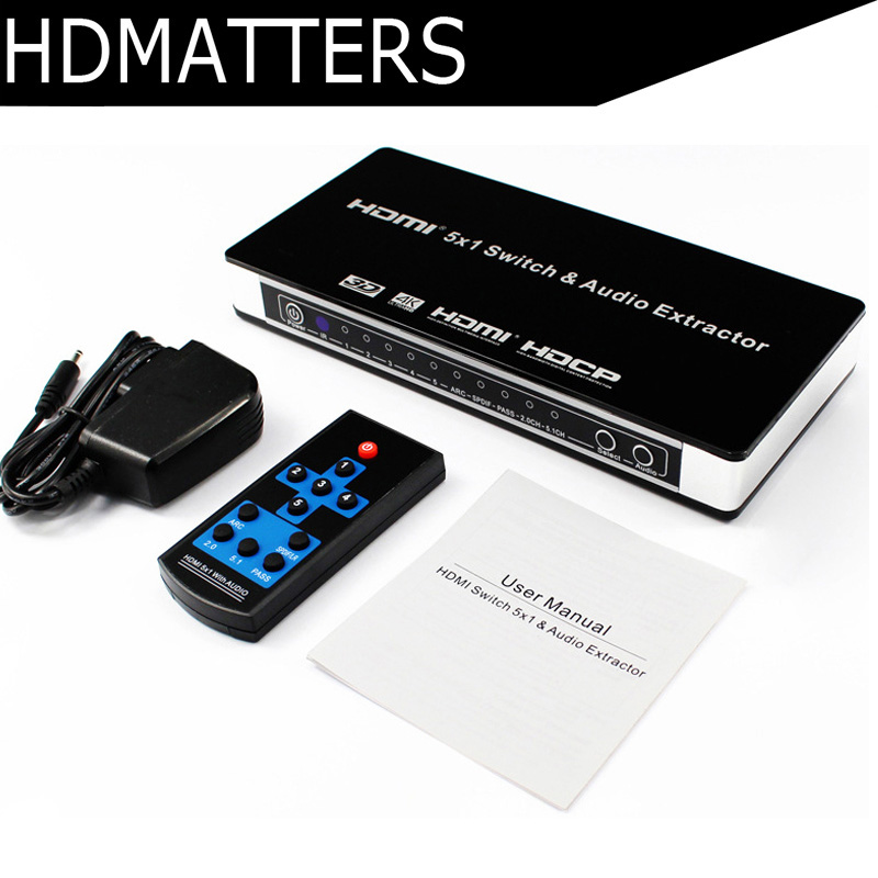 2017 HDMI <font><b>Switch</b></font> Switcher 5x1 HDMI audio extractor 4Kx2K 3D ARC Audio EDID setting HDMI 1.4V with <font><b>remote</b></font> conctrol +Toslink/SPDIF image