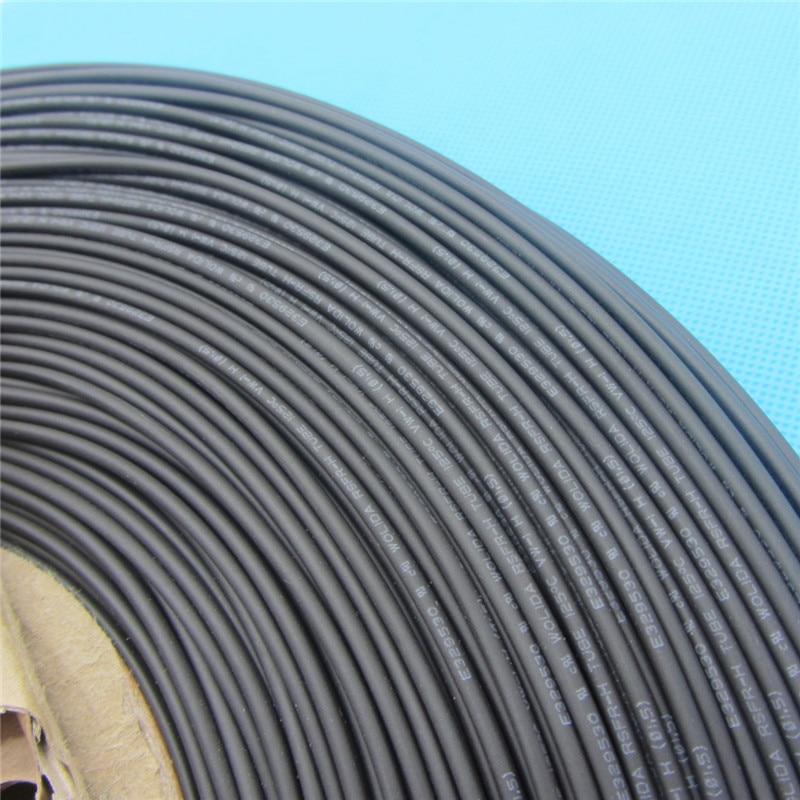1 m gaine thermorétractable gaine thermorétractable Tube 125 Celsius Tube noir câble enroulé Kit diamètre intérieur 1.5mm