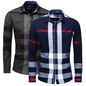 Image 1 - Camisa nueva informal de negocios de manga larga para hombre, camisa masculina de manga larga, de algodón a cuadros, 100%, de talla grande