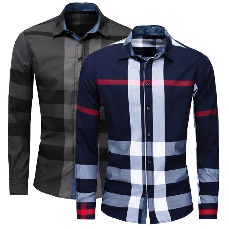 NEW shirt Business casual autumn long sleeve men shirts High quality brand 100% cotton plaid shirt men Plus Size chemise hommeCasual Shirts   -