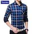 Invierno Camisa de Tela Escocesa de Los Hombres Camisas de Vestir de Los Hombres 2017 de La Moda Clásica Camisa masculina Sociales Blusa de Algodón Más El Tamaño de Espesor De Cachemir Cálido Top