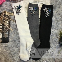 Women Socks 2017 Spring New Handmade Custom Personalized Diamond Gem Flower Cotton Obscure High School Tube