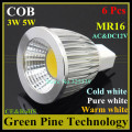 6 pcs Dimmable 5W 3W MR16 AC&DC12V LED COB Light LED Spotlight lamp Downlight bulb droplight led lamp led light led lighting