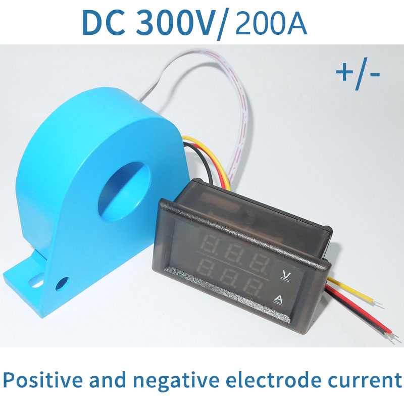 DC 0 300V 200A Digital LED Voltmeter Ammete Voltage Current Panel Meter Shunt Transformers CT Positive