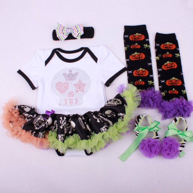 4PCs per Set Baby Girls' White Halloween Rhinestone Skull Dress Infant Costume Outfit Headband Shoes Leg Warmers