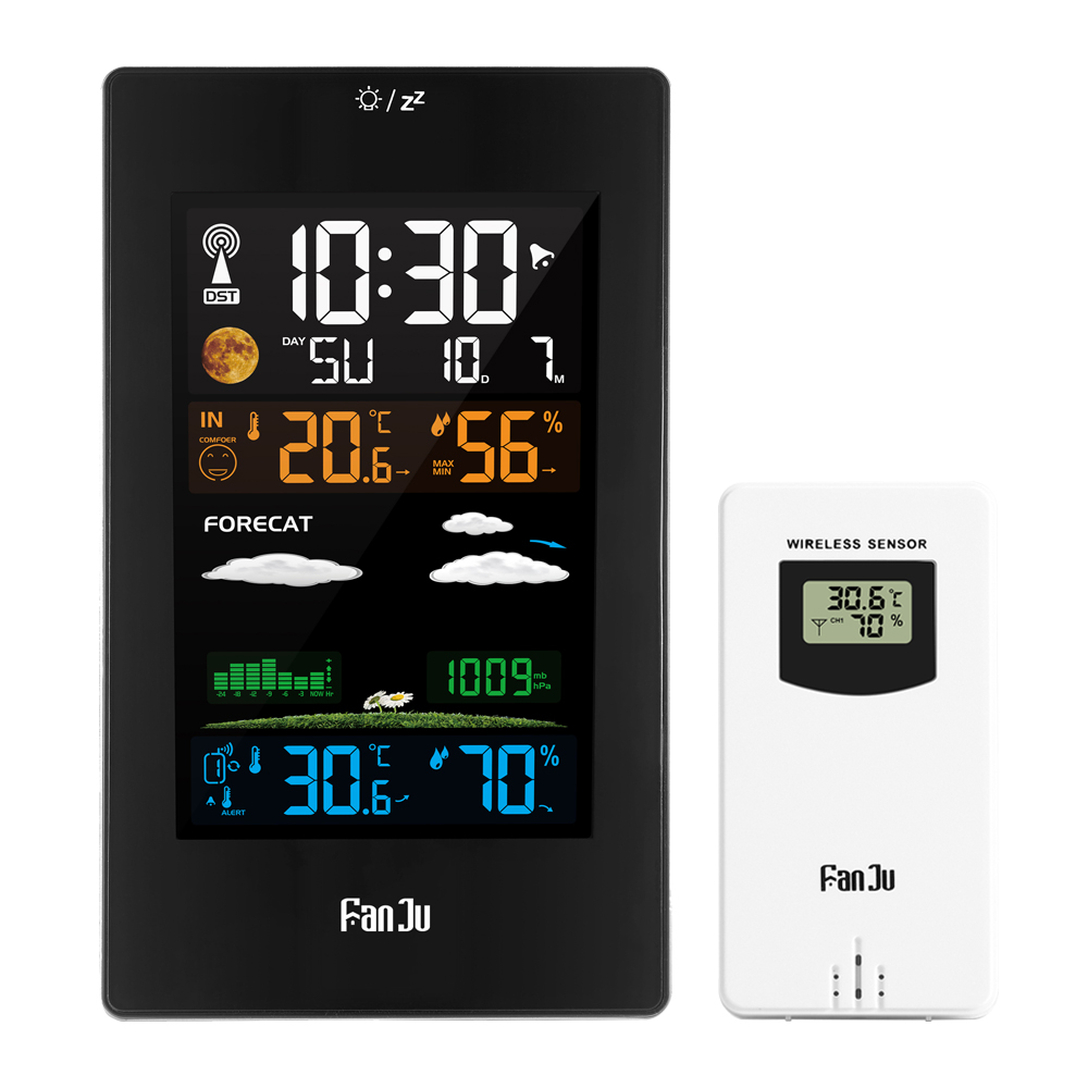 FanJu FJ3389 Wall Clock Color Weather Station LCD Digital Alarm Temperature Humidity Comfort display Table Sensor