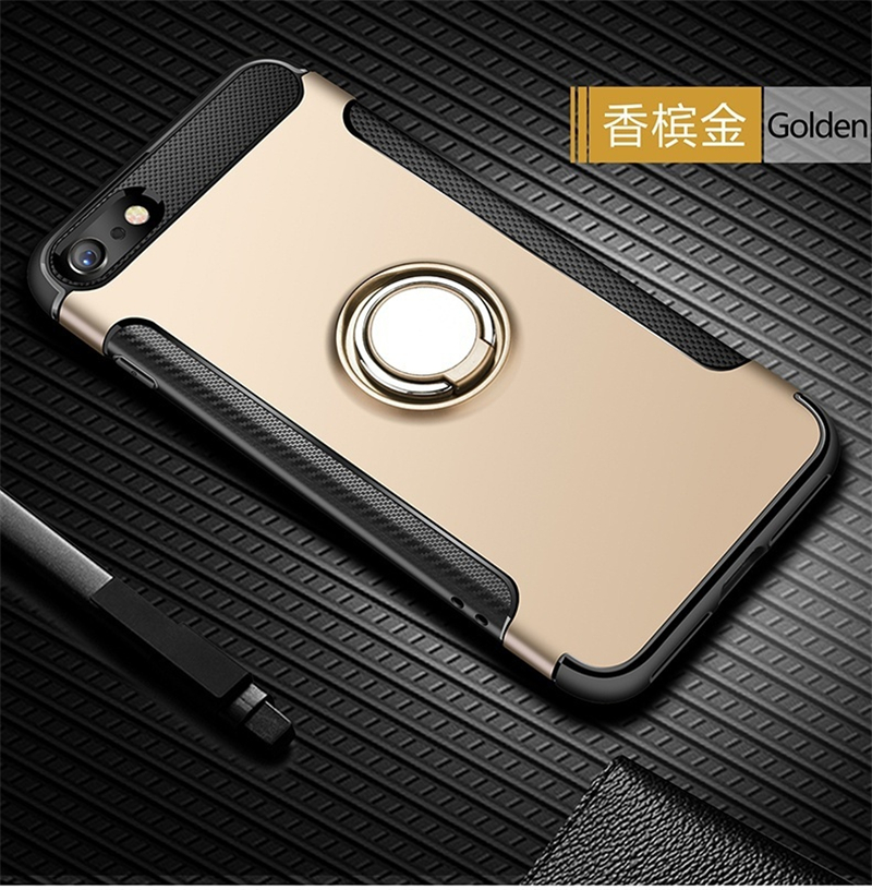 Silicone Edge Hard Back Standing Cover Case With Magnetic Ring for iPhone Models 16